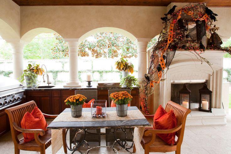 halloween outdoor patio decor orange flowers mantel easy diy