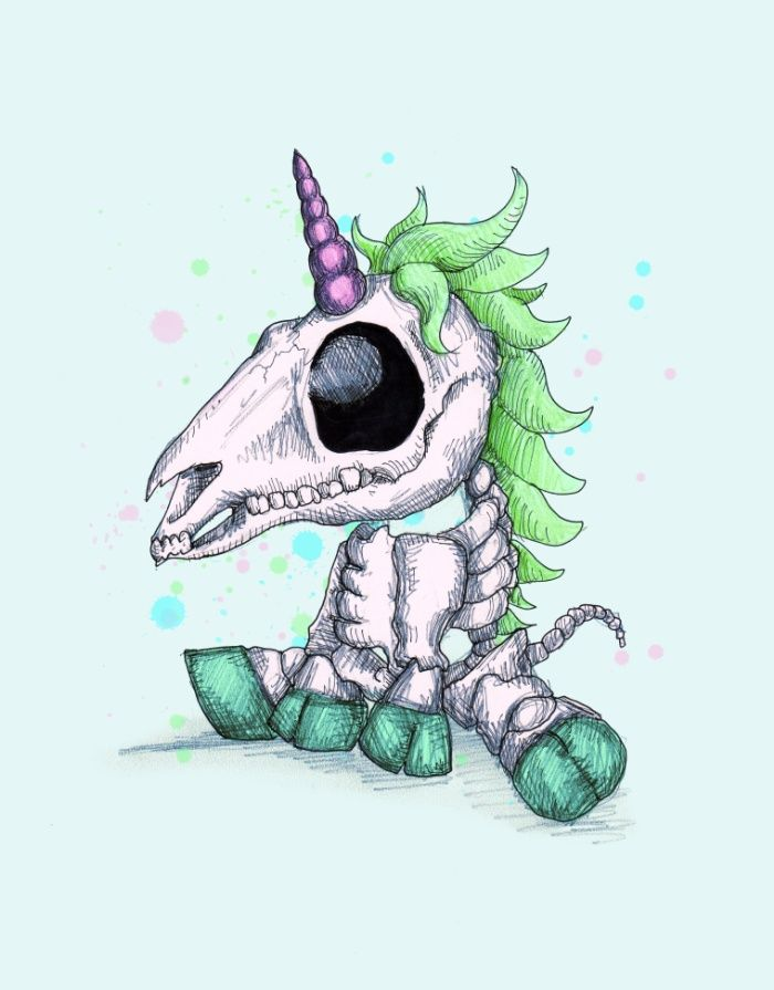 Skelecorn Art Print By Ludwig Van Bacon Drawing.  I really like unicorns, so this was just kind of cool even though the unicorn is technically dead.