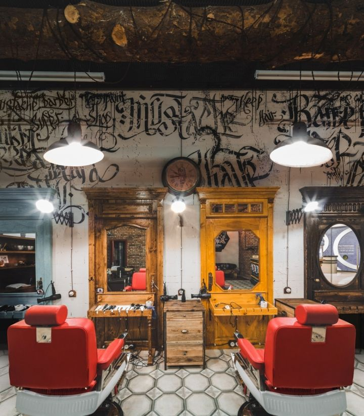 the main idea of design is brutal man interior so contrasting with glamorous cafe and barbershop