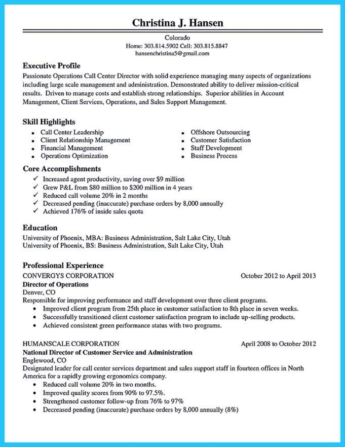 Best Call Center Resume Sample