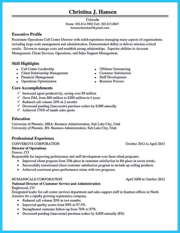 Best Call Center Resume Sample