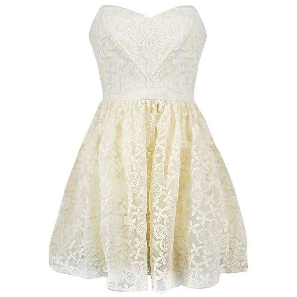 EMBROIDERED ORGANZA SWEET HEART DRESS ($35) ❤ liked on Polyvore