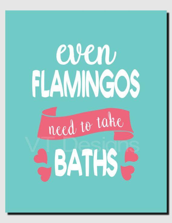 Bathroom Art Decor Even Flamingos Need to take Baths by vtdesigns