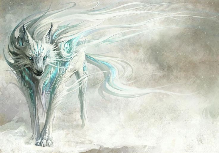 A3 Poster – Fantasy Blue & White Dire Wolf in the Snow (Picture ...