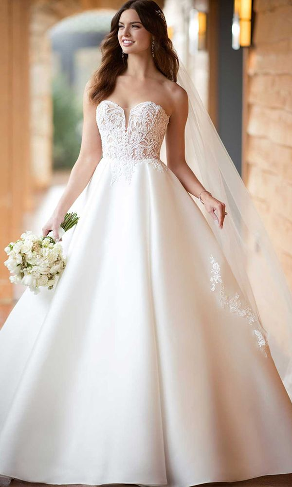 e912c3a7d50 Elegant Tulle   Satin Sweetheart Neckline A-line Wedding Dress With Lace  Appliques   Beadings