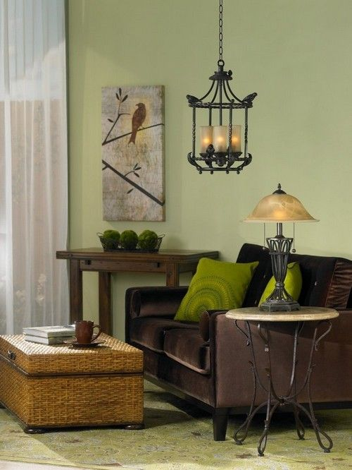 Rich Brown And Light Green Living Room Design