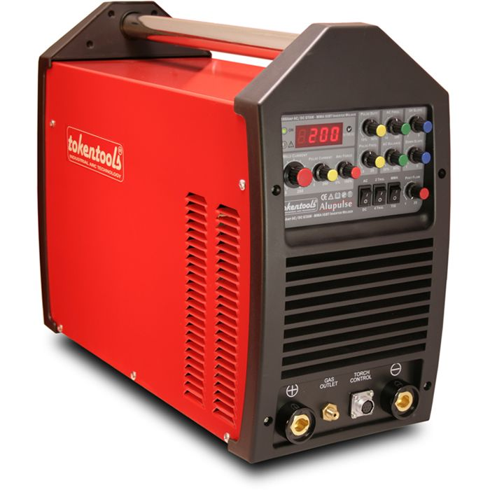 Features AC DC Tig Welder Alupulse 200 Amp Inverter Welding Machine - AC DC Inverter Tig Welding Machine Alupulse 200 Tig Welder by Tokentools Product Description A 200 Amp TIG Welding Machine, the Tokentools Alupulse 200 is an Inverter driven ACDC Pulse Tig Welder fitted with a 15 Amp 240 volt Australian plug. Providing full arc control, AC & DC TIG welding and MMA stick welding the HF TIG welding power source is loaded with features like high frequency start, up and dow