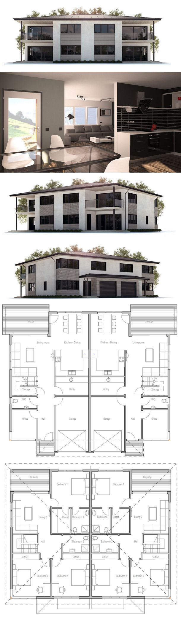 Duplex House Plan CH177D from ConceptHome.com More
