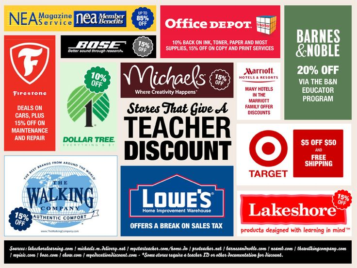 100+ Stores That Give a Teacher Discount*** for my teacher friends!!