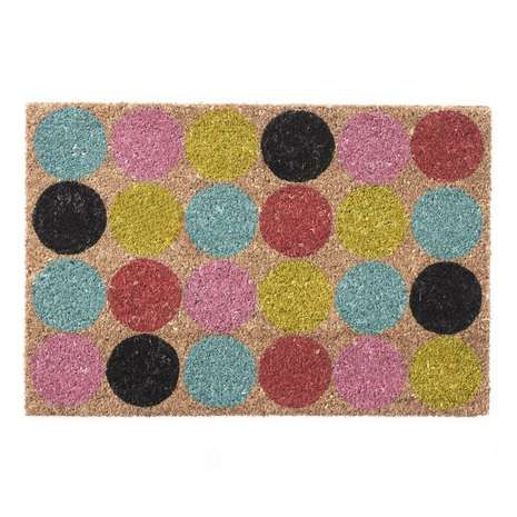 Featuring A Spotted Design In Vibrant Multi Coloured Tones, This Patterned  Doormat Is Crafted From Durable And Lasting Coir And Is Complete With A PVC  ...