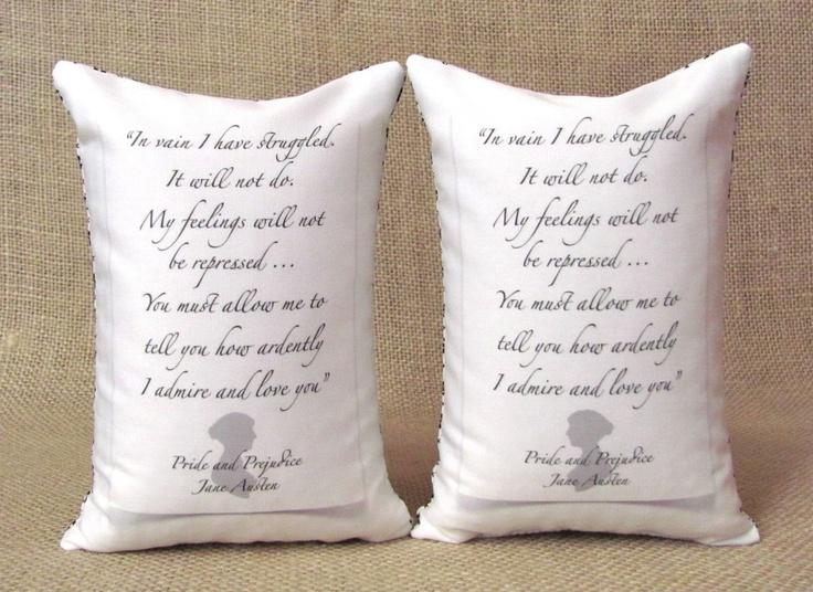 Jane Austen - Mr Darcy Proposal  Silhouette Bookends - Shelf Pillows. $28.00, via Etsy.