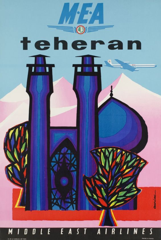 MEA, Middle East Airlines, Teheran - Vintage Posters - Galerie 123 - The place to find vintage art