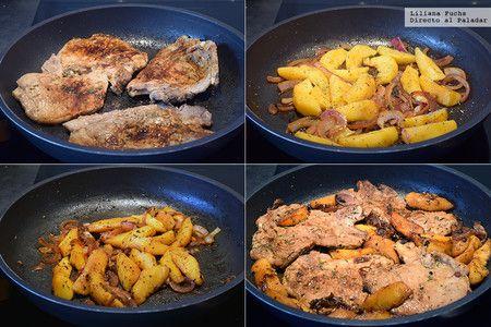 Chuletas de cerdo al whisky y melocotón. Receta de cocina fácil, sencilla y deliciosa