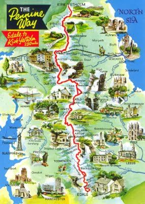 Map Postcard of Pennine Way, a hiking trail approx 268 miles long in the UK
