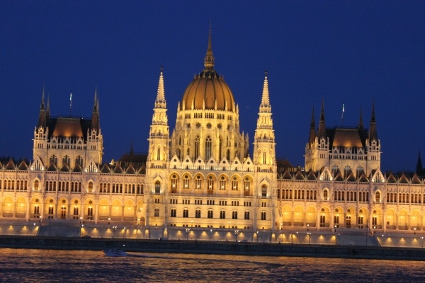 Hungarian Parliament by night in Budapest...