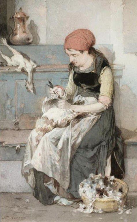 Γυναίκα από τα Ψαρά μαδά έναν κόκορα