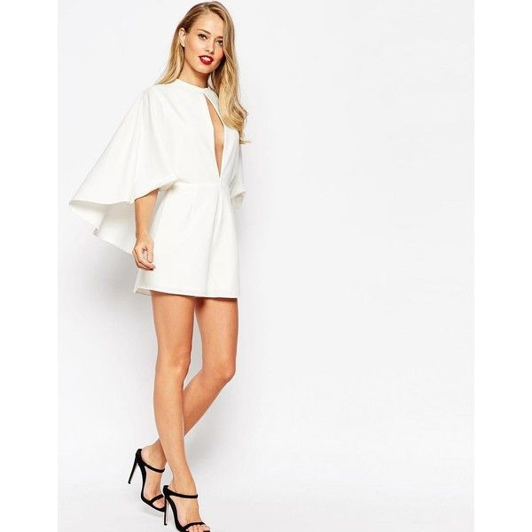ASOS Occasion Playsuit with Cape and Keyhole (1 170 UAH) ❤ liked on Polyvore featuring jumpsuits, rompers, ivory, white rompers, asos, white romper, plunge romper and playsuit romper