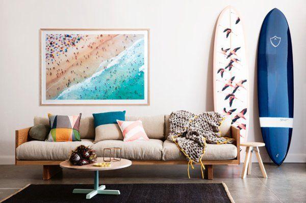 Un salon esprit surf d co salon en 2019 planche de surf d co maison et mobilier de salon - Voir ma maison en direct ...