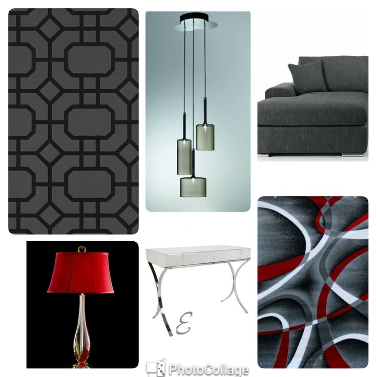 Modern Living Room Design Mood Board Colours Black Red Grey White Charcoal Red Side Lamp