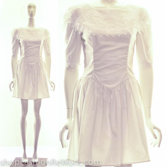 Vintage années 70 Gunne Sax Gypsy mariage robe courte blanc Festival robe Jessica McClintock m Mini robe bohème pionnier priarie Ouest Ruffle