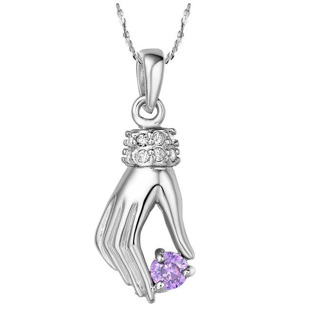 Летний стиль 18 К белый позолоченный мода женщины / мужчины ювелирные изделия витой цепочки ожерелье для рук циркон подвеска бесплатная доставка