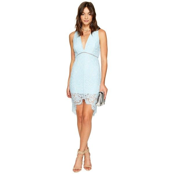 ASTR the Label Caroline Dress (Sky Blue) Women's Dress ($108) ❤ liked on Polyvore featuring dresses, plunging v neck dress, v-neck dresses, blue hi low dress, hi lo dress and short in front long in back dress