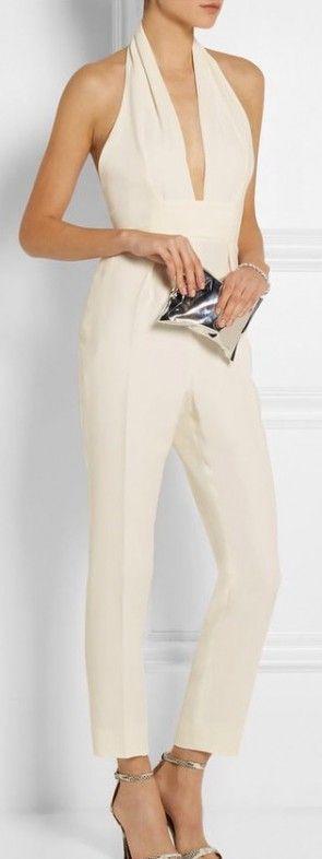 cream, jumpsuit, halter neck, chic, sophisticated