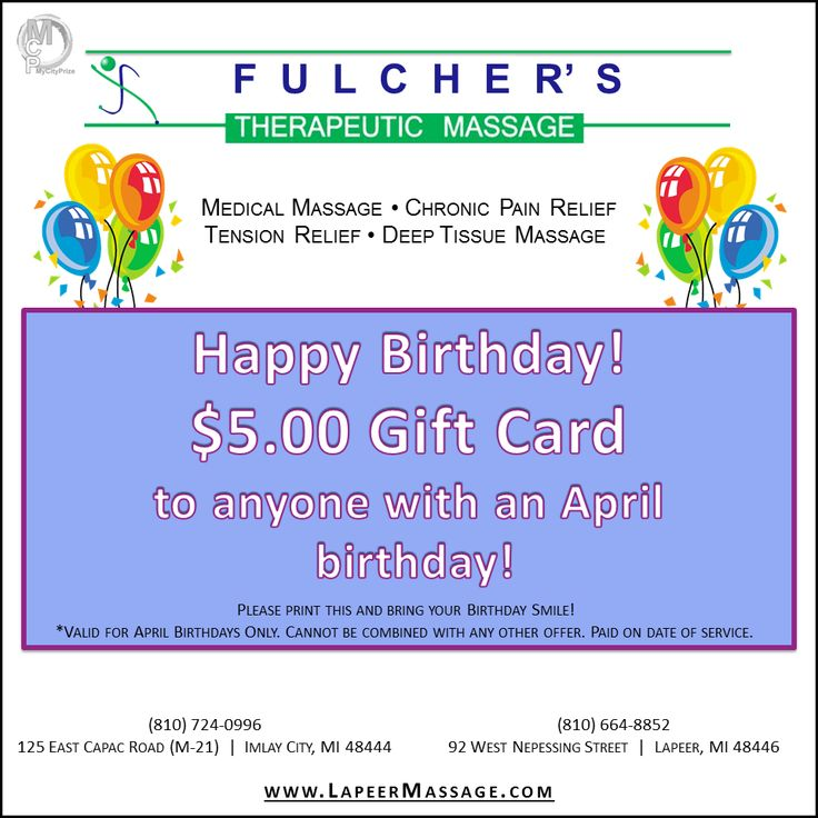 Don't forget that everyone with an April birthday can use this gift card  for $5 OFF at Fulcher's Therapeutic Massage!!! Have you scheduled your  appointment ...