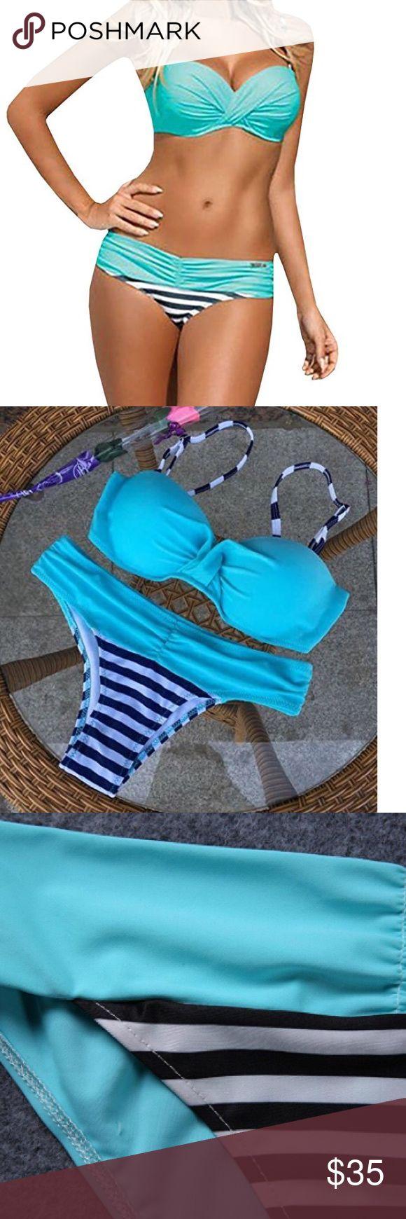 Coming soon 👙 NOTE:Asian Size:S---US:0;M---US:2;L---US:4;XL---US:6,XXL---US:8,3XL---US:10(suggestion),It is samller than US size,Please refer to the size chart(Size Table) Sexy two piece bandage padded push up bikini swimsuit swimwear beach bathing suits for women Bikini Top:Spaghetti strap,push up with rims,criss cross,twist bandeau bikini top Bikinit Bottoms:low waist,patch striped Soft wear,high quality,with stretchy Swim Bikinis