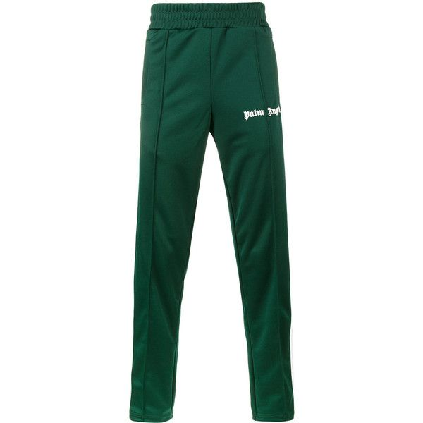 Palm Angels Classic track pants ($455) ❤ liked on Polyvore featuring men's fashion, men's clothing, men's activewear, men's activewear pants, green and track pants