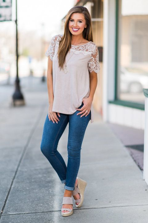 Lace Yoke Short Sleeve Solid Top - Almond - The Mint Julep Boutique