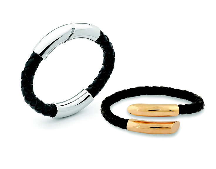 A collection of leather and PVC bracelets and bangles with beautifully polished metal details and clasps.