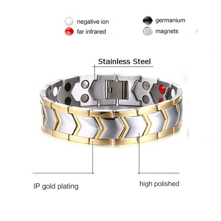 Stainless Steel Bilateral Magnetic Therapy Bracelet Men Jewelry Gift