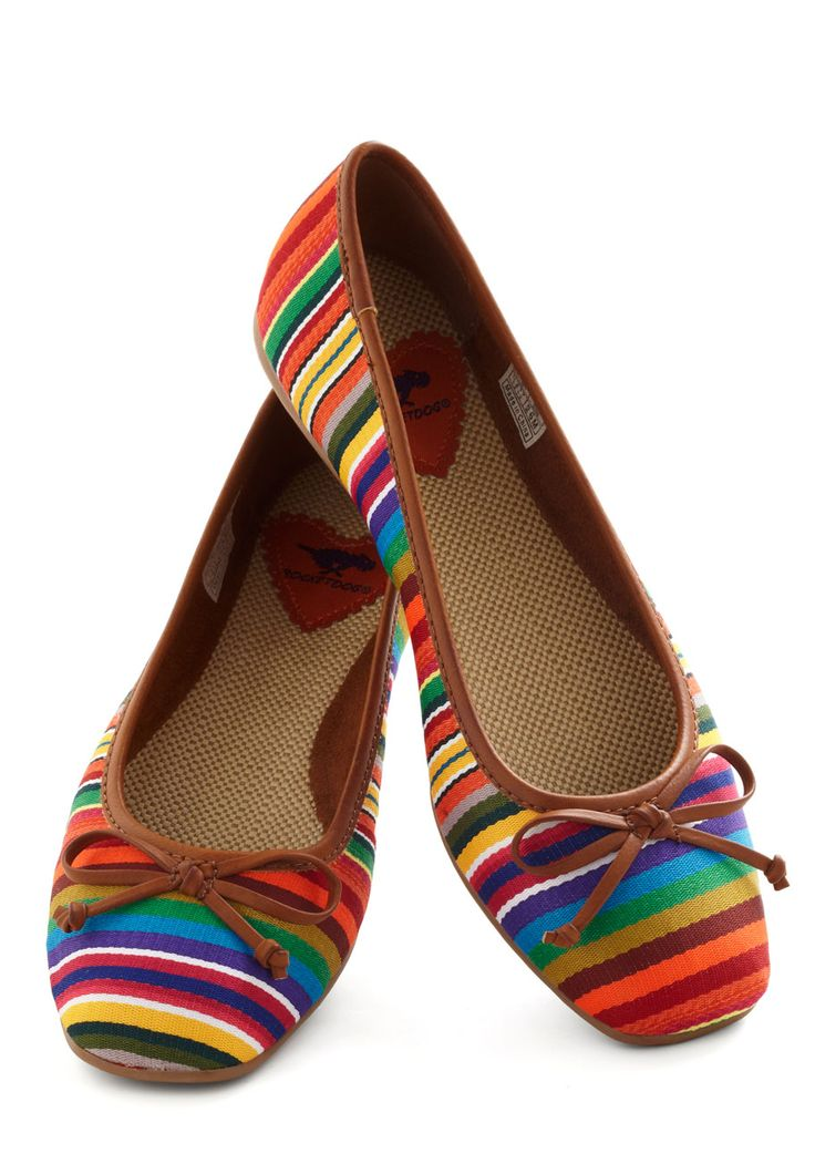 Textile Message Me Flat. There are lots of great signals sent out by wearing these brightly striped ballet flats, and youre likely to get a few headed back your way! #multi #modcloth
