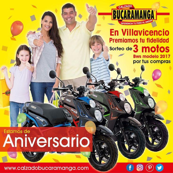 Calzado Bucaramanga #Villavicencio premia tu #fidelidad. Sorteo de 3 #motos #BWS 2017 por tus #compras. ¡Participa desde ya! www.calzadobucaramanga.com webmaster@calzadobucaramanga.com