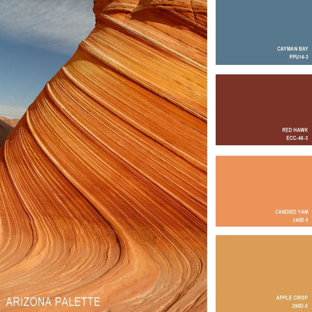 11 Beautiful Color Palettes Inspired By Nature — Arizona Palette (all paint is Behr) [Candied Yam?? (Nice contrast with Cayman Bay.) Apple Crisp??]