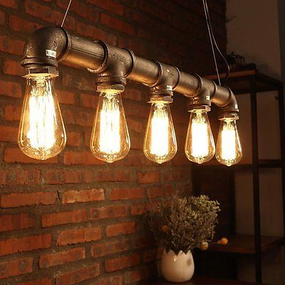 Industrie Retro Kronleuchter Deckenlampen Vintage Loft Pipe Edison Lampe Leuchte