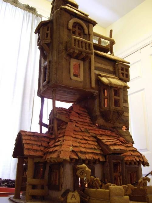 """The Burrows"": Harry Potter inspired Weasley house made from gingerbread! Yes, gingerbread, you read that right."