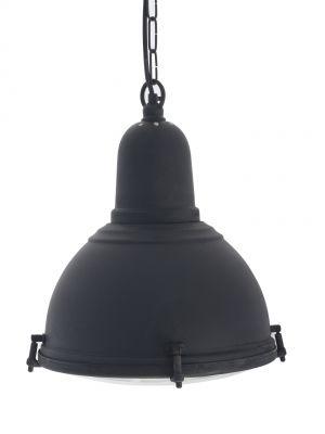 Industriële hanglamp in antiekzwart. Met bouten en glasplaat  onderzijde. Landelijk, tijdloos en stoer boven eettafel, keukenwerkblad of onder de veranda.