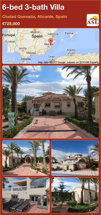 6-bed 3-bath Villa in Ciudad Quesada, Alicante, Spain ►€725,000 #PropertyForSaleInSpain