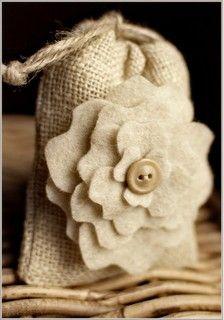 gift bag via tinywhitedaisies.tumblr: Idea, Wedding Favors, Gifts Bags, Bags Tutorials, Burlap Favors Bags, Burlap Bags, Bridal Shower Gifts, Peonies, Felt Flowers