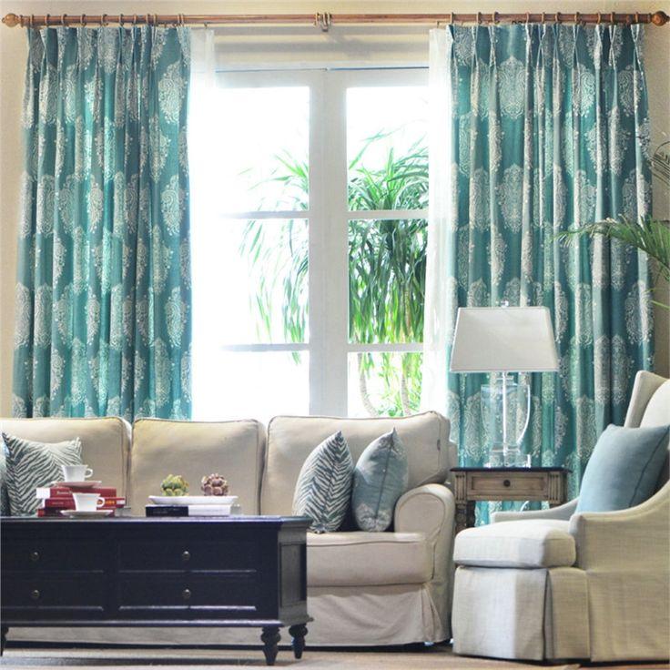 遮光カーテン オーダーカーテン ブルー 花柄 田舎風 3級遮光カーテン(1枚) PL009