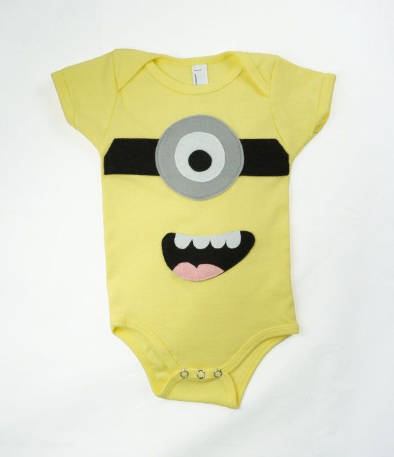Minion onesie, yellow bodysuit, gender neutral baby gifts, 3-6 months, ready to ship