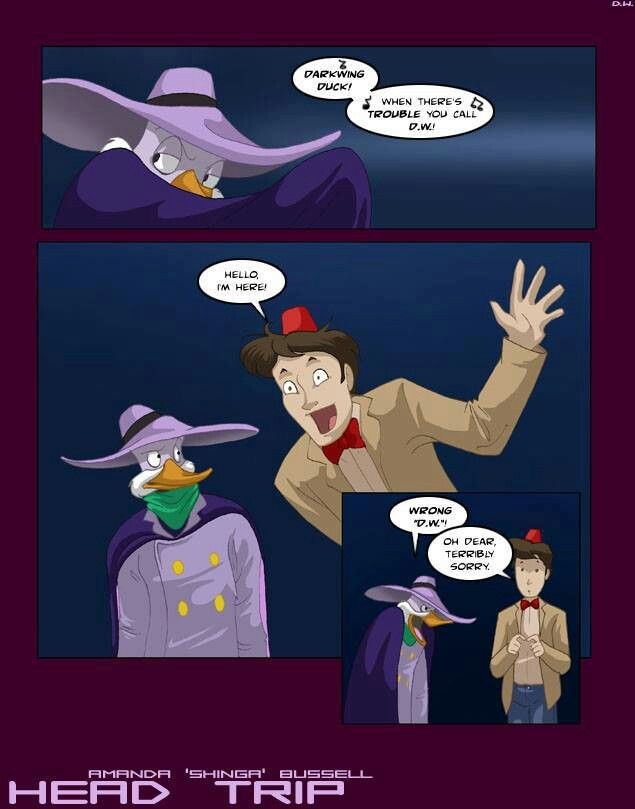 """Darkwing Duck and his new sidekick"" :)"
