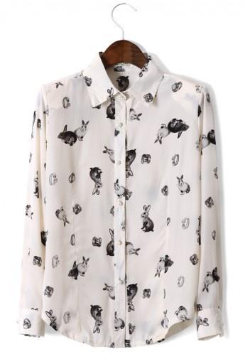 Rabbit Print Peter Pan Collar Shirt Fashion, Clothes