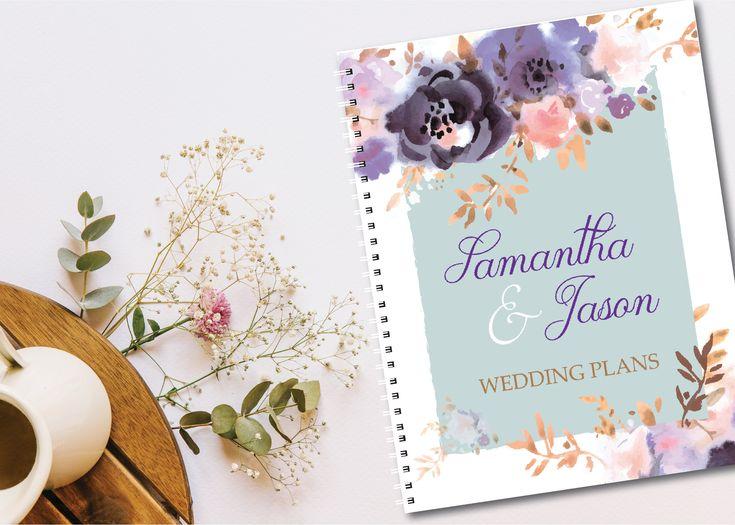 Wedding Planning Notebook - Custom Cover - Purple Floral, Wedding plan, plans, engagement gift by MrsDDesign on Etsy