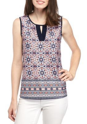 New Directions Women's Sleeveless Border Print Cutout Neck Tank - Pink/Navy/Ivory - Xl