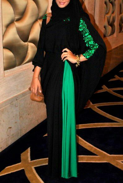 black and turquoise Abaya