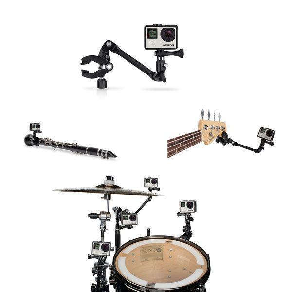 360 grados gira la guitarra atasco de la música ajustable soporte del montaje del soporte para la AEE Xiaomi Yi SJcam GoPro