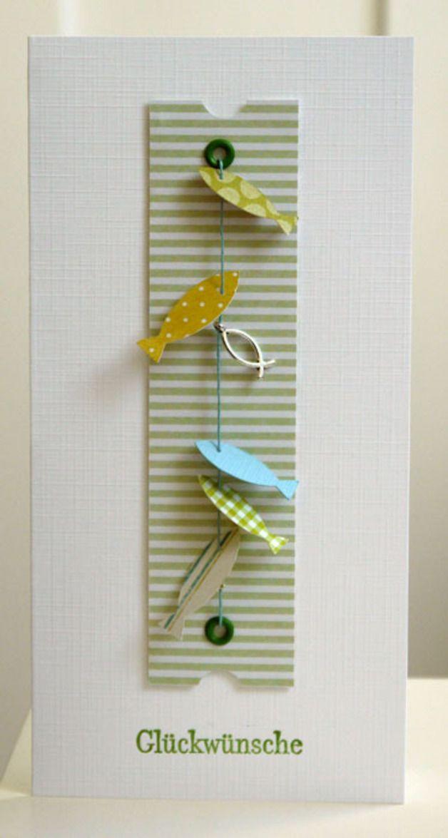 geschnitten & gestempelt & aufgereiht  Konfirmationskarte mit lauter bunten Fischen, kombiniert mit einem Charm. Die Papierfische sind nicht fixiert und somit beweglich.  Dazu gehört ein weisser...